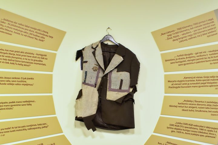 While wearing this jacket, J. Zdebskis died in a car accident. Jacket was cut by people, shared as a relic.