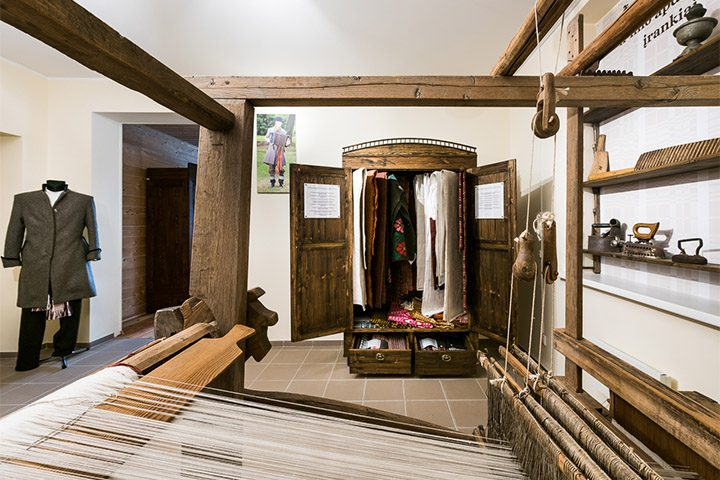 The largest and most authentic part of the museum's exposition of folk art is comprised of fabrics. The museum displays works by Bronė Urlikienė, Elvyra Pempytė, Ona Dabrišienė and other weavers who have upheld old weaving traditions.