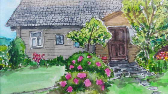 """Irmos  Urbonavičienės akvarelės miniatiūrų paroda """"Raganų draustinis: kelionių užrašai"""""""